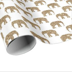 Gold white Jungle elephant party wrap Wrapping Paper