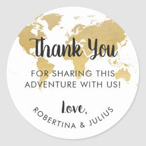 Gold World Map Travel Theme Thank You Favor Classic Round Sticker