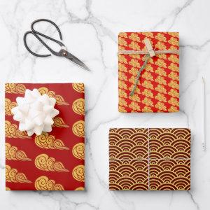 Golden Auspicious Clouds Pattern Chinese New Year  Sheets