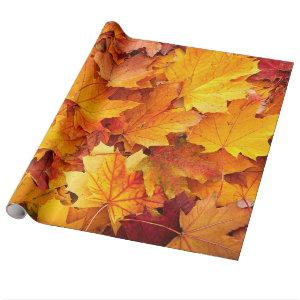 Golden Autumn Maple Leaves Wrapping Paper
