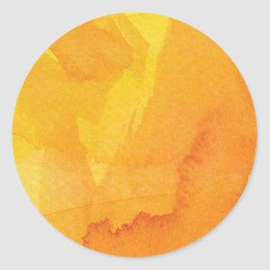 Golden Autumn Watercolor Classic Round Sticker