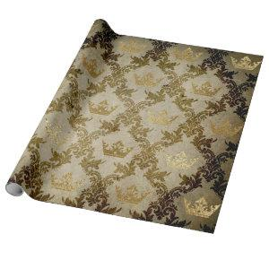 Golden Crown Royal Grungy Ivory Green Velvet Wrapping Paper