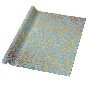 Golden Damask Blue Sky Royal Geometric Vip Wrapping Paper