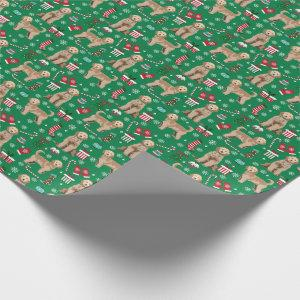 Golden Doodle Dog Christmas holiday Wrapping Paper