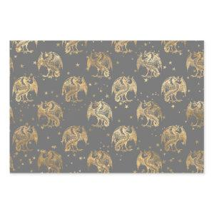 Golden Dragons and Stars Wrapping Paper Sheets