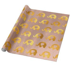 Golden Elephants Baby Girl Rose Gold Blush Wrapping Paper