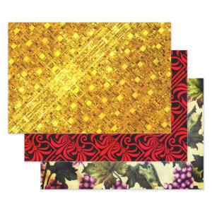 Golden Flare, Crimson Nouveau, and Grapes & Vines Wrapping Paper Sheets