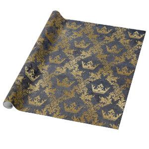 Golden Foil Crown Confetti Royal Purple Velvet Wrapping Paper