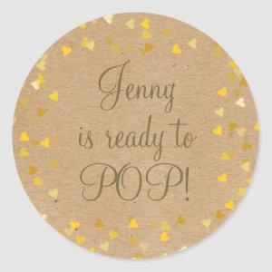 Golden Hearts She's Ready to Pop Baby Shower Favor Classic Round Sticker