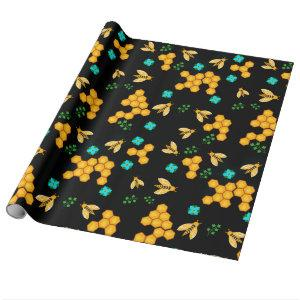 Golden Honey Bees Classic Honeycomb Floral blooms Wrapping Paper