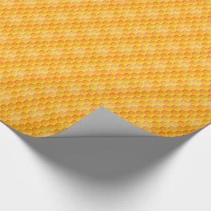 Golden Honeycomb Pattern Wrapping Paper