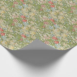 Golden Lily Floral William Morris Wrapping Paper