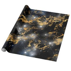 Golden Marble Dark Starry Night Space Lover Galaxy Wrapping Paper