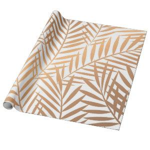 Golden Palm Tree Leaf Pattern Wrapping Paper