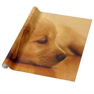 Golden Retriever Puppy Antoine Melancholy I Wrapping Paper