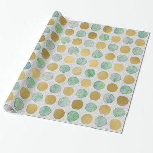Golden watercolor polka dots Christmas pattern Wrapping Paper