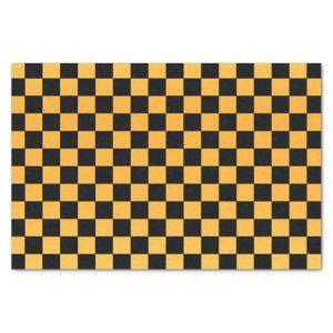 Golden Yellow and Black Checks Tissue Paper