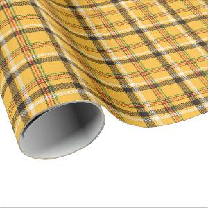 Golden Yellow Plaid All Occasion Wrapping Paper