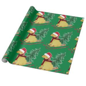 Goldendoodle Christmas Sled Wrapping Paper