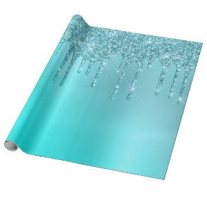 Gorgeous aqua blue mint & turquoise glitter drips wrapping paper