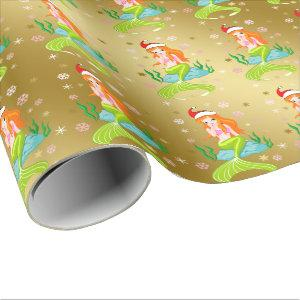 Gorgeous Christmas mermaid snowflake pattern gold Wrapping Paper