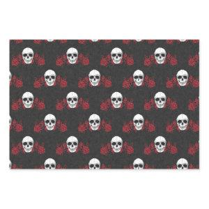 Gorgeously Gothic Red & Black Skull Wrapping Paper