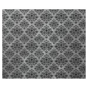 Gothic Black Skull Grunge Damask Pattern Wrapping Paper