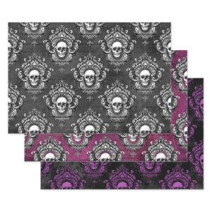 Gothic Grey and Purple Skull Wrapping Paper Sheets