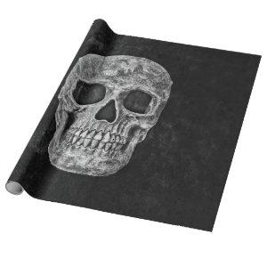 Gothic Grunge Skull Black And White Wrapping Paper