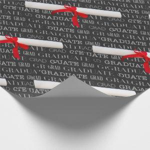 Graduate Chalkboard and Diploma Theme Wrapping Paper