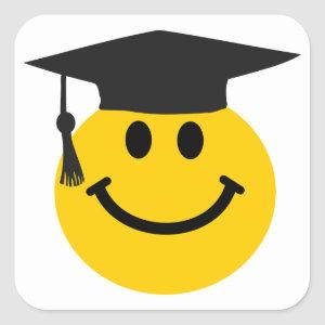 Graduate face with graduation hat square sticker