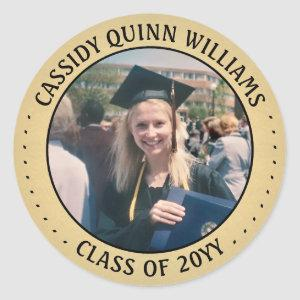 Graduate Photo Black and Gold Graduation Picture Classic Round Sticker