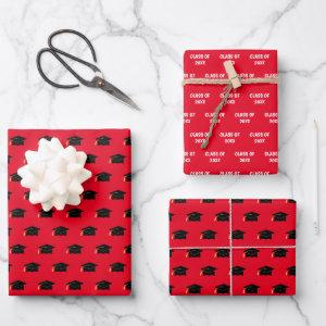 Graduation Cap Class Year Red Wrapping Paper Sheets