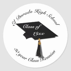 Graduation Cap - High School Reunion Classic Round Sticker