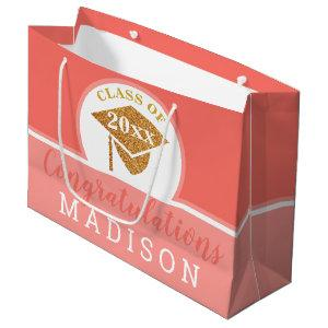 Graduation Coral Pink Gold Chic Personalized Large Gift Bag