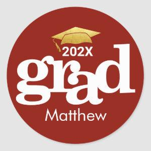 Graduation Gold Cap Bold Modern Typography on Red Classic Round Sticker
