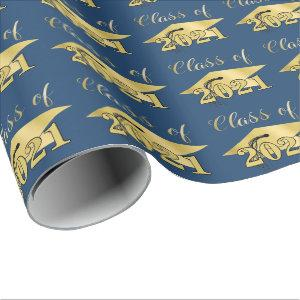 Graduation Metallic Gold CLASS OF 2021 Blue Wrapping Paper