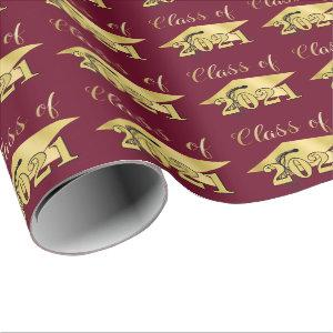 Graduation Metallic Gold CLASS OF 2021 Maroon Wrap Wrapping Paper