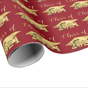 Graduation Metallic Gold CLASS OF 2021 Red Wrapping Paper