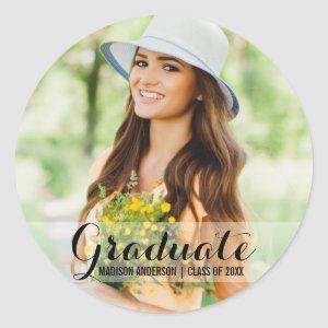 Graduation Modern Photo Name Stickers