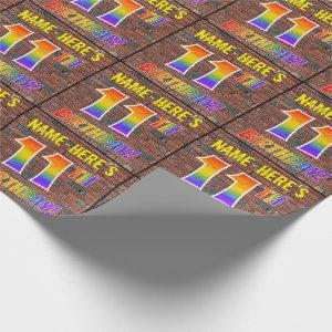 Graffiti Rainbow Look 11TH BIRTHDAY! & Custom Name Wrapping Paper