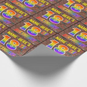 Graffiti Rainbow Look 18TH BIRTHDAY! & Custom Name Wrapping Paper