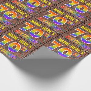 Graffiti Rainbow Look 70TH BIRTHDAY! & Custom Name Wrapping Paper