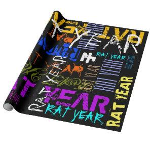 Graffiti style Repeating Rat Year 2020 Wrapping P Wrapping Paper