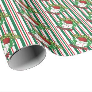Grand Slam Baseball Christmas Wrapping Paper