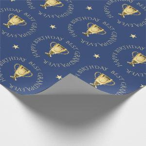 Grandpa birthday trophy custom text navy wrapping paper