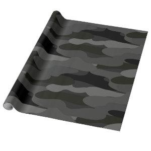 Gray and Black Camouflage Wrapping Paper