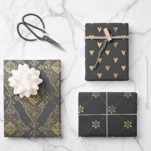 Gray and Gold Paris themed Wrapping Paper Sheets
