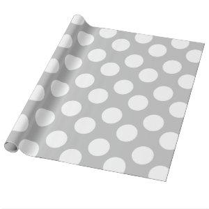 Gray and White Polka Dot Gift Wrapping Paper