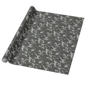 Gray Black Camo Modern Trendy Camouflage Wrapping Paper